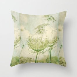 Sanctuary -- White Queen Anne's Lace Meadow Wild Flower Botanical Throw Pillow