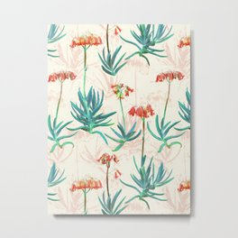 Flowering Succulent Pattern in Cream, Coral and Green Metal Print