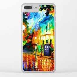 Tardis Stay Waiting Clear iPhone Case