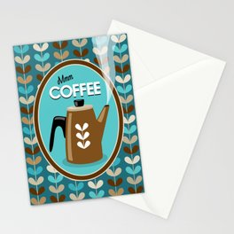 Mid Century Modern Coffee Kettle Kitchen Wall Decor // Caribbean Blue, Turquoise, Brown, Khaki, Tan Stationery Cards