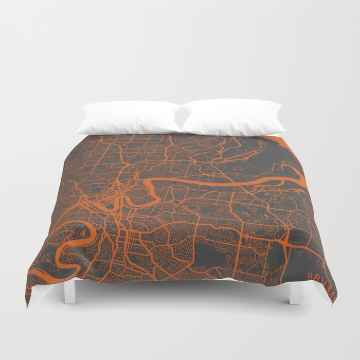 Brisbane Map Duvet Cover