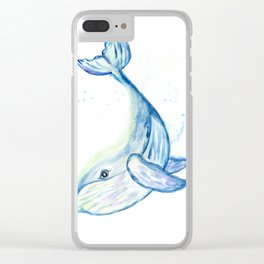 Cute whale watercolor Clear iPhone Case