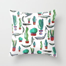 Cactus and Whales Throw Pillow