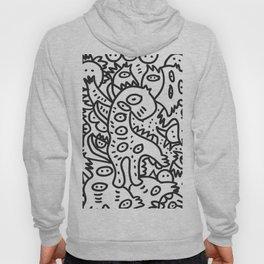 Cool Graffiti Art Dinosaur Black and White  Hoody