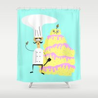 cake Shower Curtains featuring CAKE by CROQUEMAAMM