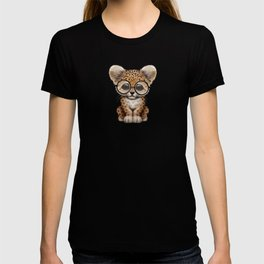 Cute Baby Leopard Cub Wearing Glasses on Teal Blue T-shirt
