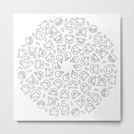 Black & White Animal Face Mandala Metal Print
