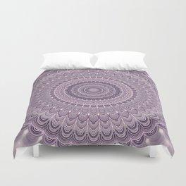 Purple feather mandala Duvet Cover