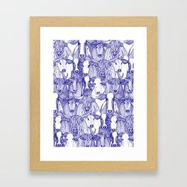 just cattle blue white Framed Art Print