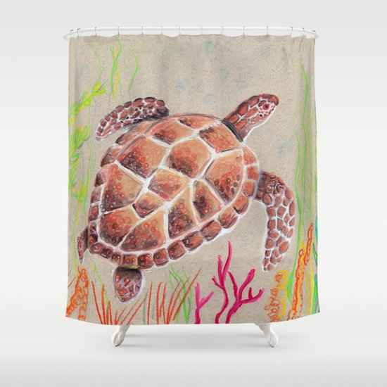 Tan Sea Turtle Shower Curtain