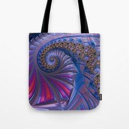 Curved Blue Fractal Tote Bag