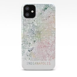 Indianapolis City Watercolor Map Art by Zouzounio Art iPhone Case