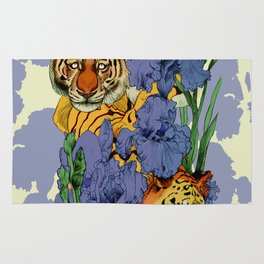 Tigers and Irises Rug