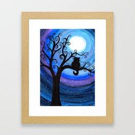 Midnight Cat Framed Art Print
