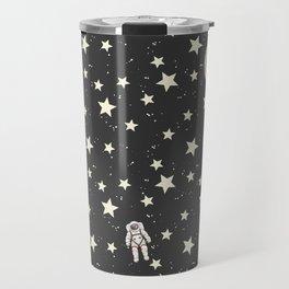 Space - Stars Moon and Astronauts on black Travel Mug