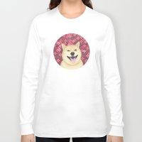 shiba Long Sleeve T-shirts featuring pixel shiba by desks.lava