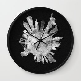 New York City Black and White Skyround / Skyline Watercolor Painting (Inverted Version) Wall Clock