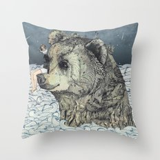 Bear Rock Throw Pillow