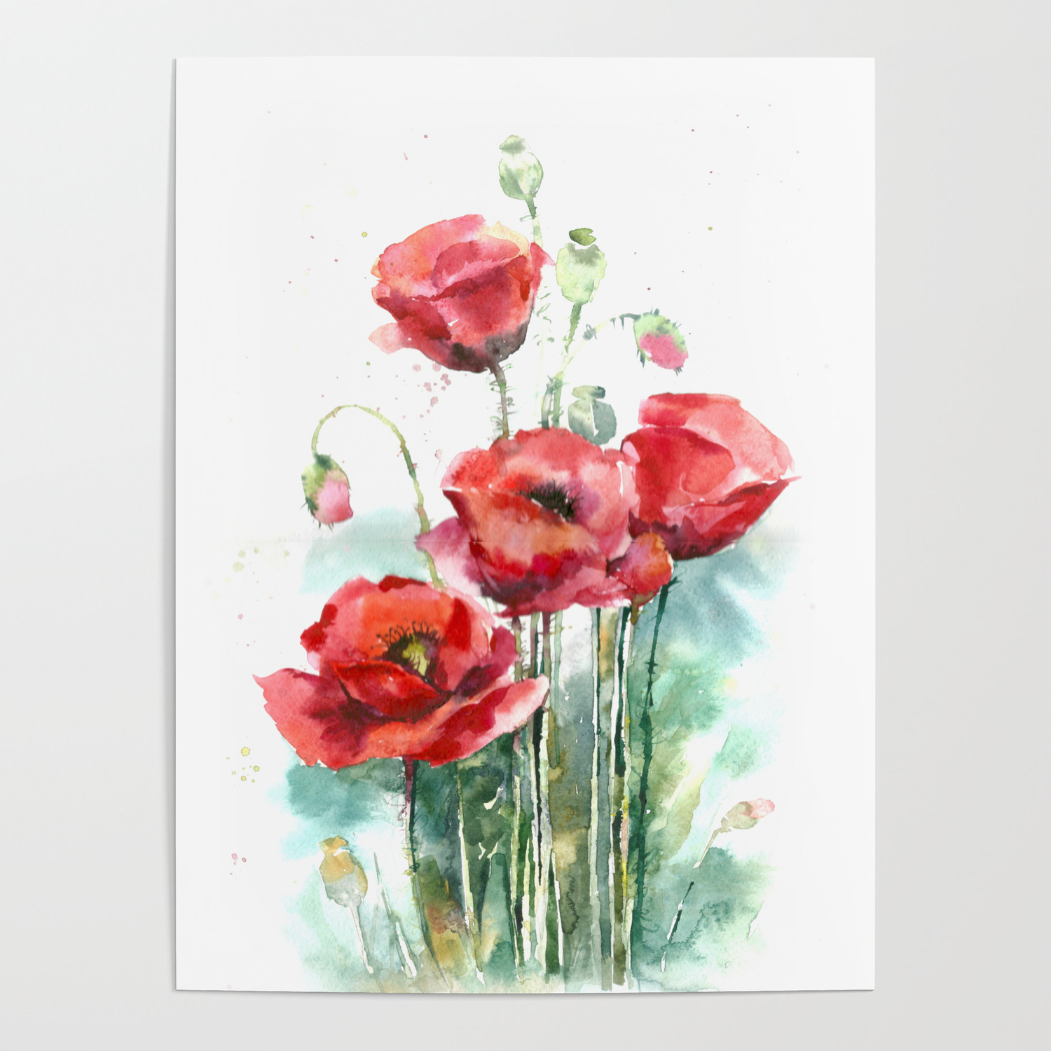 Watercolor Red Poppies Flowers Poster By Maryami Society6