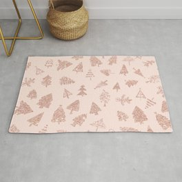Modern rose gold glitter Christmas trees pattern on blush pink Rug