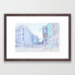 Downtown Grand Rapids color pop Framed Art Print