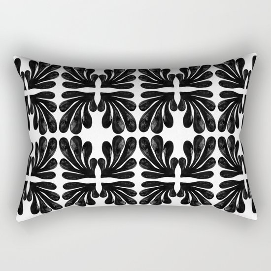 Grace - black and white abstract painting india ink brushstroke watercolor minimal modern urban  Rectangular Pillow