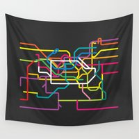 seoul Wall Tapestries featuring seoul metro map by Live It Up
