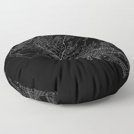 Honolulu Black Map Floor Pillow