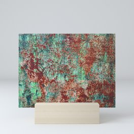 Abstract Rust on Turquoise Painting Mini Art Print