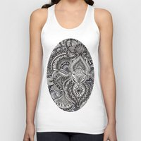 zentangle Tank Tops featuring zentangle by paucarbajal