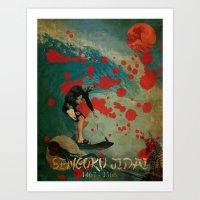 hokusai Art Prints featuring Delfin Hokusai by Lobuno