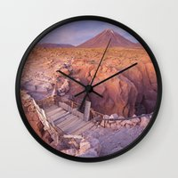 chile Wall Clocks featuring Atacama Desert in Chile by Sara Winter
