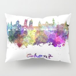 Ghent skyline in watercolor Pillow Sham