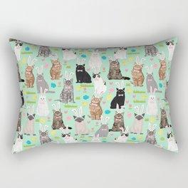 Cat easter bunny spring cute cat breeds cat lady kittens pattern Rectangular Pillow