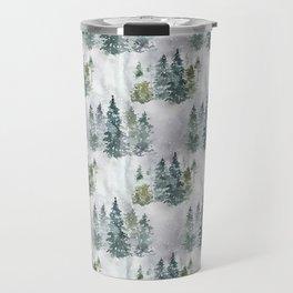 Watercolor forest green snow Christmas pine tree Travel Mug