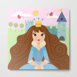 Fairy Tale Princess With Her Story Book Castle - Blue Dress Metal Print