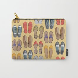 Hard choice // shoes on yellow background Carry-All Pouch
