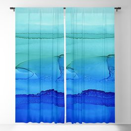 Alcohol Ink Seascape Blackout Curtain