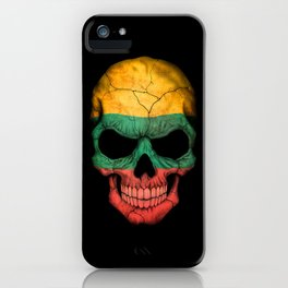 Dark Skull with Flag of Lithuania iPhone Case