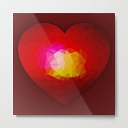 Red geometric burning heart Metal Print