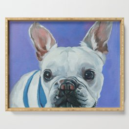 French Bulldog Portrait Painting Serving Tray