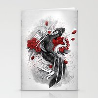 koi Stationery Cards featuring Black Koi by Marine Loup