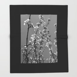 Tree Blossoms in Black and White Throw Blanket