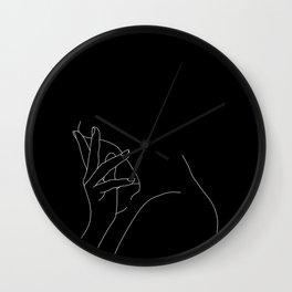 Hand on neck line drawing - Josie Black Wall Clock