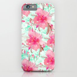 Hot pink turquoise hand painted watercolor floral iPhone Case