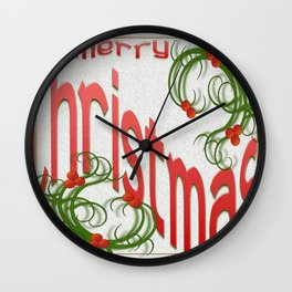 Merry Christmas With Stylized Holly Greeting Card  Wall Clock