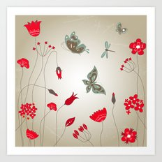 Tatemae Japanese Ochre Art Print