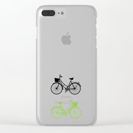 Vintage bicycles, seamless pattern, pastel green brown beige colors Clear iPhone Case