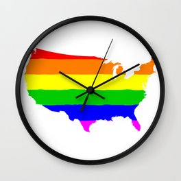 United States Gay Pride Flag Wall Clock