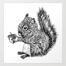 Squirrel in black & white Art Print